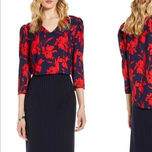 Halogen V-Neck Floral Shirt